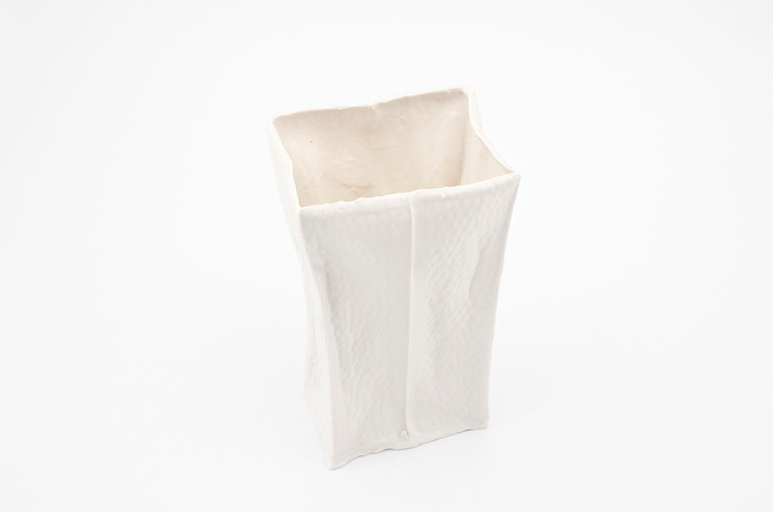 vaso tessuto bianco ceramica